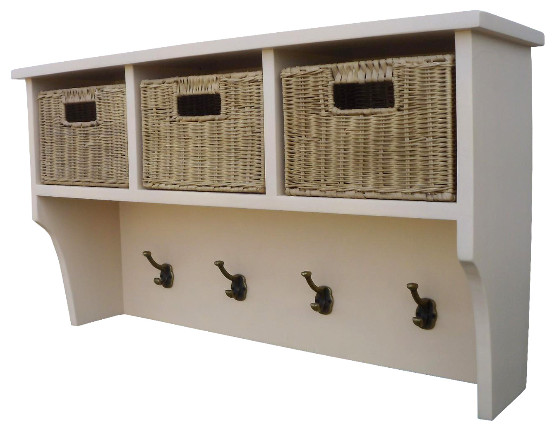wall mountable hall shelf unit coat rack with hooks and wicker storage baskets ebay. Black Bedroom Furniture Sets. Home Design Ideas