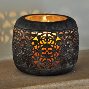 Small Round Slate Finish Tealight Holder