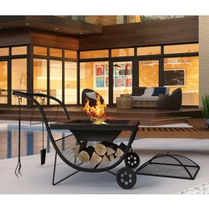 Portable Fire Pit with BBQ Rack & Fireguard