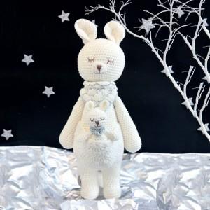 Kangaroo Knitted Soft Toy White