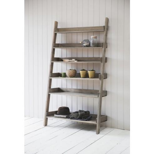 Wide Wooden Ladder Shelf