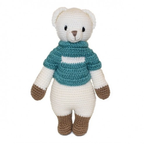 Bear Knitted Soft Toy Blue