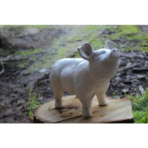 white pig statue
