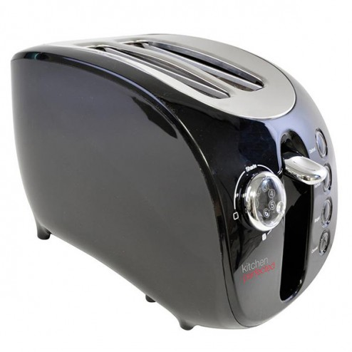 Black 2 Slice Wide Slot Toaster
