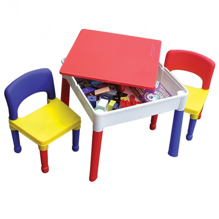 KIDS SQAURE 2 in 1 CONSTRUCTION LEGO PLAY STORAGE TABLE AND CHAIRS ...