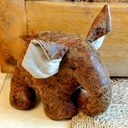 Large Elephant Doorstop in Faux Leather