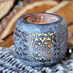 Large Round Slate Finish Tealight Holder