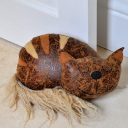 Large Welsh Cat Doorstop in Faux Leather
