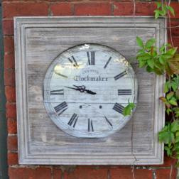 Vintage Wooden Square Garden Clock