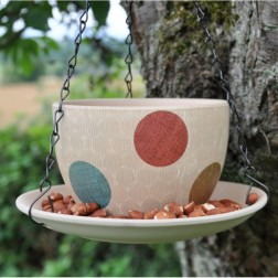 Pastel Teacup Hanging Bird Feeder