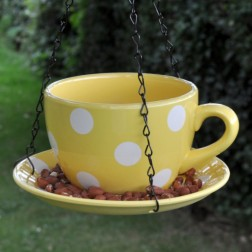 Yellow Teacup Hanging Bird Feeder