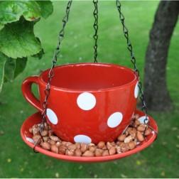 Red Teacup Hanging Bird Feeder
