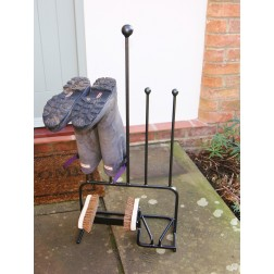 Solid Steel 2 Pair Boot Stand with Brushes - Black