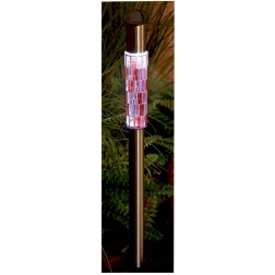 Pink Mosaic 53cm Solar Garden Post Light