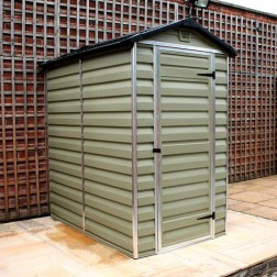 Green Plastic Shed 4x6ft with Skylight Polycarbonate Roof