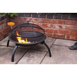 Accessible LUCIO Portable Fire Bowl & BBQ Grill including Carry Bag