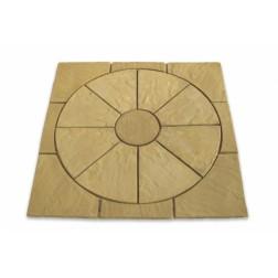 Antique Buff Paving Circle & Sq Off Kit 1.8m²