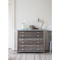 Zinc Top 3 Drawer Storage Cabinet