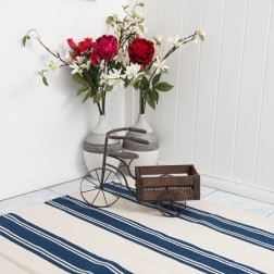 Cotton Reversible Blue Stripe Rug