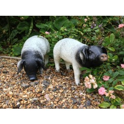 Black & White Pig Down Garden Ornament
