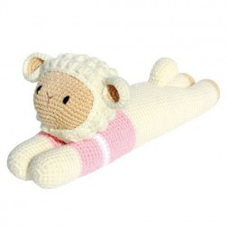Laying Sheep Knitted Soft Toy Pink
