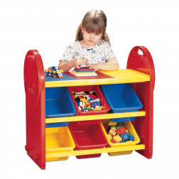 Multi Coloured Childrens 6 Bin Storage Organiser