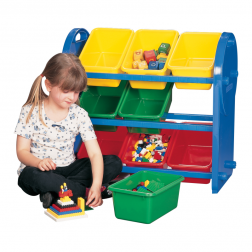 Multi Coloured Childrens 9 Bin Storage Organiser
