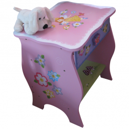 Pastel Pink Children's Fairy Design Bedside Table