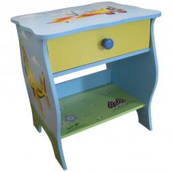 Pastel Blue Children's Plane Design Bedside Table