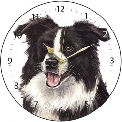 Black and White Border Collie Wall Clock