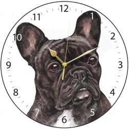 Black French Bulldog Wall Clock