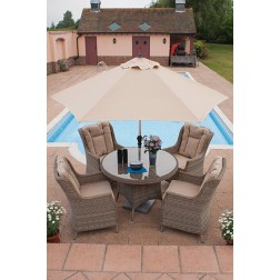 Casamoré Corfu 110cm 4 Seater Round Dining Set with Wing Back Armchairs