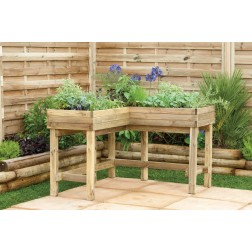 Stylish Corner Wooden Table Planter for herbs, plants and vegetables.