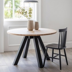Raw Oak Round Dining Table Grey