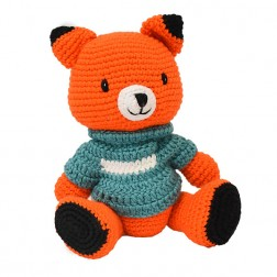Fox Knitted Soft Toy Blue
