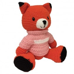 Fox Knitted Soft Toy Pink