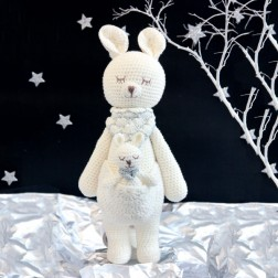 Kangaroo Knitted Soft Toy White