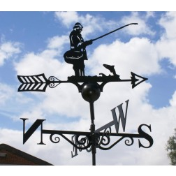 Captivating Fisherman Design Black Weathervane in Solid Steel