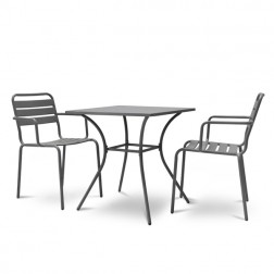 Small Square 2 Seater Bistro Set Charcoal