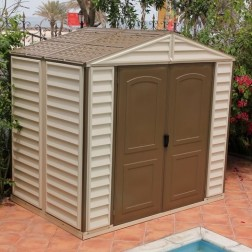 The Easy to Assemble Garden Brown / Ivory Plastic Apex Log Cabin Shed - 8 x 6