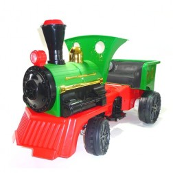 12V Ride on Electric Train Engine and Pedal Coal Truck - Green