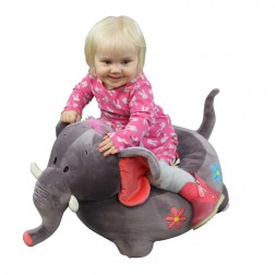 Plush Elephant Riding Chair Grey