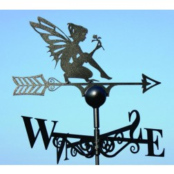 Enchanting Fairy Design Black Weathervane in Solid Steel