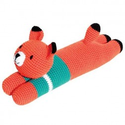 Laying Fox Knitted Soft Toy Blue