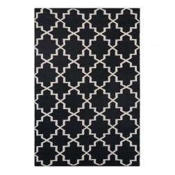 Black White Reversible Patterned Rug