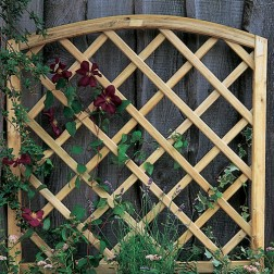 Wooden Garden Planter With Integrated Curved Trellis