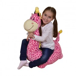 Plush Giraffe Riding Chair Pink