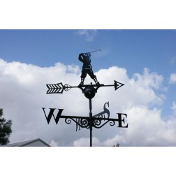 Black Golfer Weathervane in Solid Steel