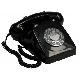Retro Push Button Telephone - Black