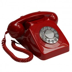 Retro Push Button Telephone - Red